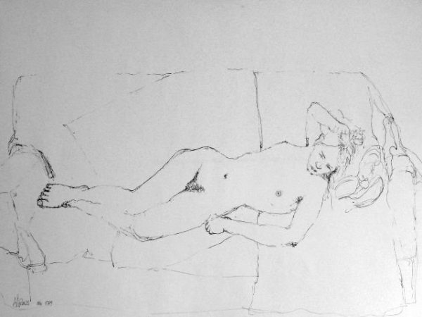 Nude reclining on a Sofa